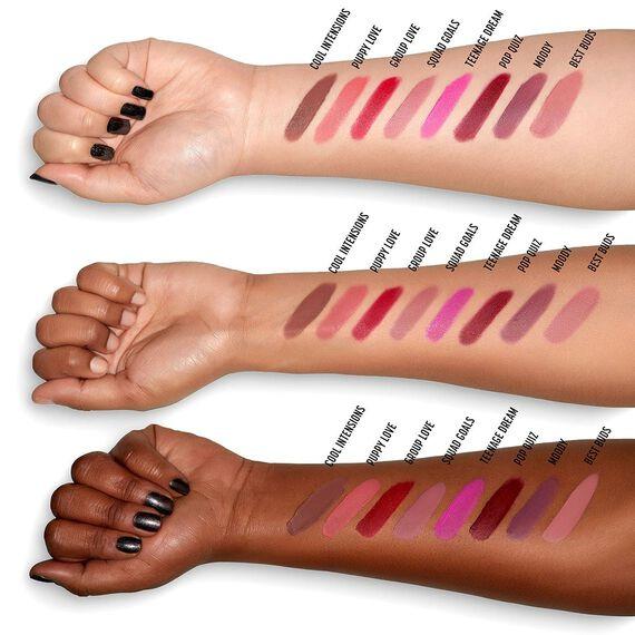 Powder Puff Lippie powder lip cream swatches on differernt skintone arms